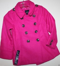 Gap Kids NWT Girl's Pink Boucle' Wool Blend Pea Coat Jacket - $83.64