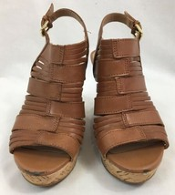 "Franco Sarto ""Sharp"" Brown Leather Slingback Wedges, Women's US Size 6M image 2"