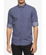 Calvin Klein Jeans Men's Scattered Diamond-Print Cotton Shirt, Navy, S, MSRP $69 - $34.64