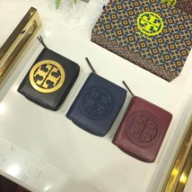 Tory Burch Large Logo Mini Wallet Leather Authentic - $115.00