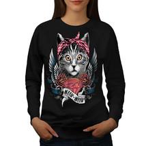 Cute Heart Wings Meow Cat Jumper  Women Sweatshirt - $18.99