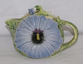 Omnibus Pansy Floral Tea Pot Japan OCI 38 oz Purple Ceramic Vintage Fitz... - $29.69