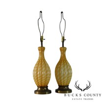 Pair Hand Blown Murano Table Lamps Lobed Gourd Shape, Amber/White Twist Glass - $995.00