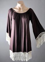 Brown Gypsy Casual Boho Tassel Fringe Flare Sleeve Off Shoulder Mini Dre... - $19.99