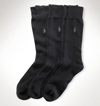 Polo Ralph Lauren Blue Label Men's Cotton Blend Trouser Socks Black 10-13 New. - $49.90