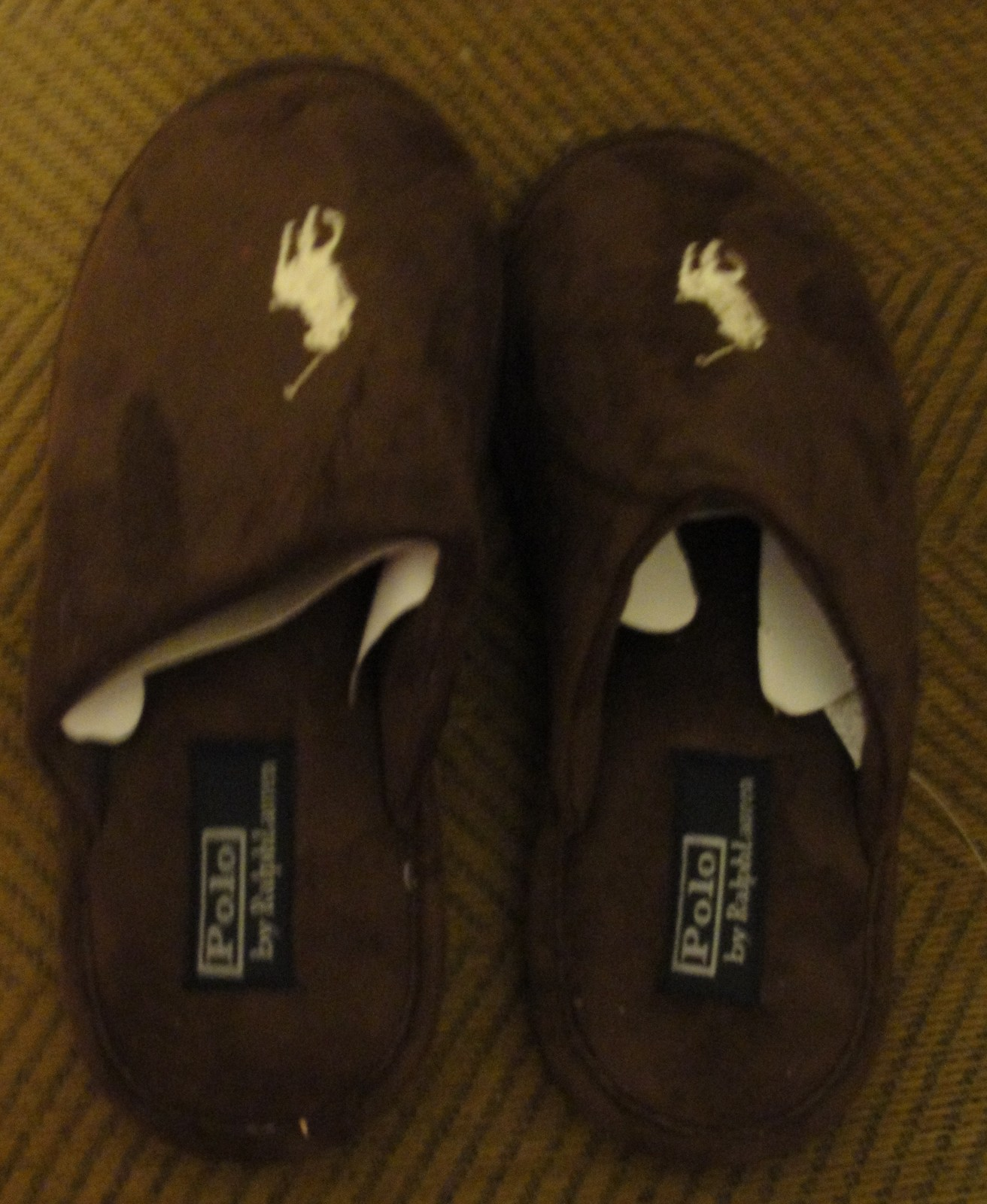 POLO RALPH LAUREN ESTATE MEN'S SLIDE SLIPPERS SIZE-8M COLOR-BROWN SOLID NEW W T.