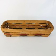 Longaberger Cracker Basket Woven Traditions 1993 Red Green Blue Thin Sla... - $17.77