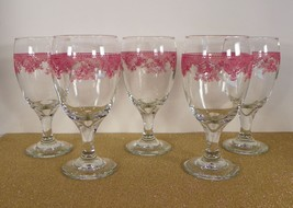 Pink Scrolls Floral Lace Clear Glass Water Goblet (s) LOT OF 5 - $39.55