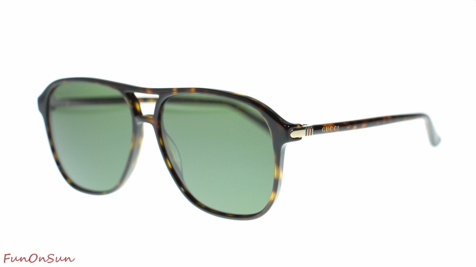 Gucci Men's Aviator Sunglasses GG0016S 007 Havana/Green Lens Authentic 58mm