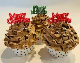 Fake Christmas Cupcakes Chocolate Red Green Set of 3-Fake Decoration  - $24.74