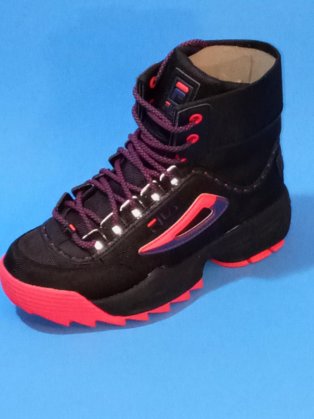 NEW Womens FILA Disruptor Ballistic Black Pink Sneaker Boots Tall Reflective Box - $84.97