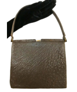 50s Genuine Ostrich Skin Leather Brown Olive Green Luxury Suede Lined Ha... - $220.00