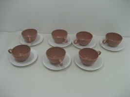Stetson Melamine Vintage Set of Seven (7) Saucer Plates & Coffee Tea Cups - $18.65