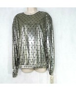 Vintage JS Neal Metallic Shirt Top Women Size L Silver Black Polka Dot K... - $29.69