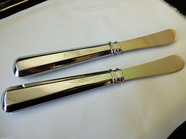 VTG Set of 2 Stainless Steel shiny metal handle cheese butter spread knife - $14.26