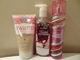 BATH & BODY WORKS SET OF 3 TWISTED PEPPERMINT FRAGRANCE MIST SCRUB HAND ... - $22.99