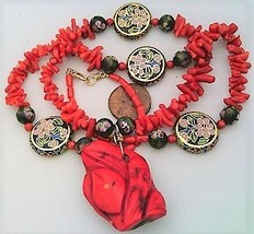 Red Coral Cloisonne Beaded Gemstone Necklace - $27.25