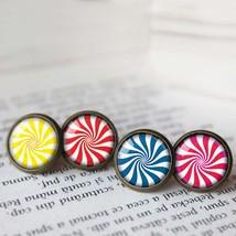 Peppermint Earrings, Lollipop Earrings, Red Blue Yellow Pink Lollipop Candy Earr - $11.99