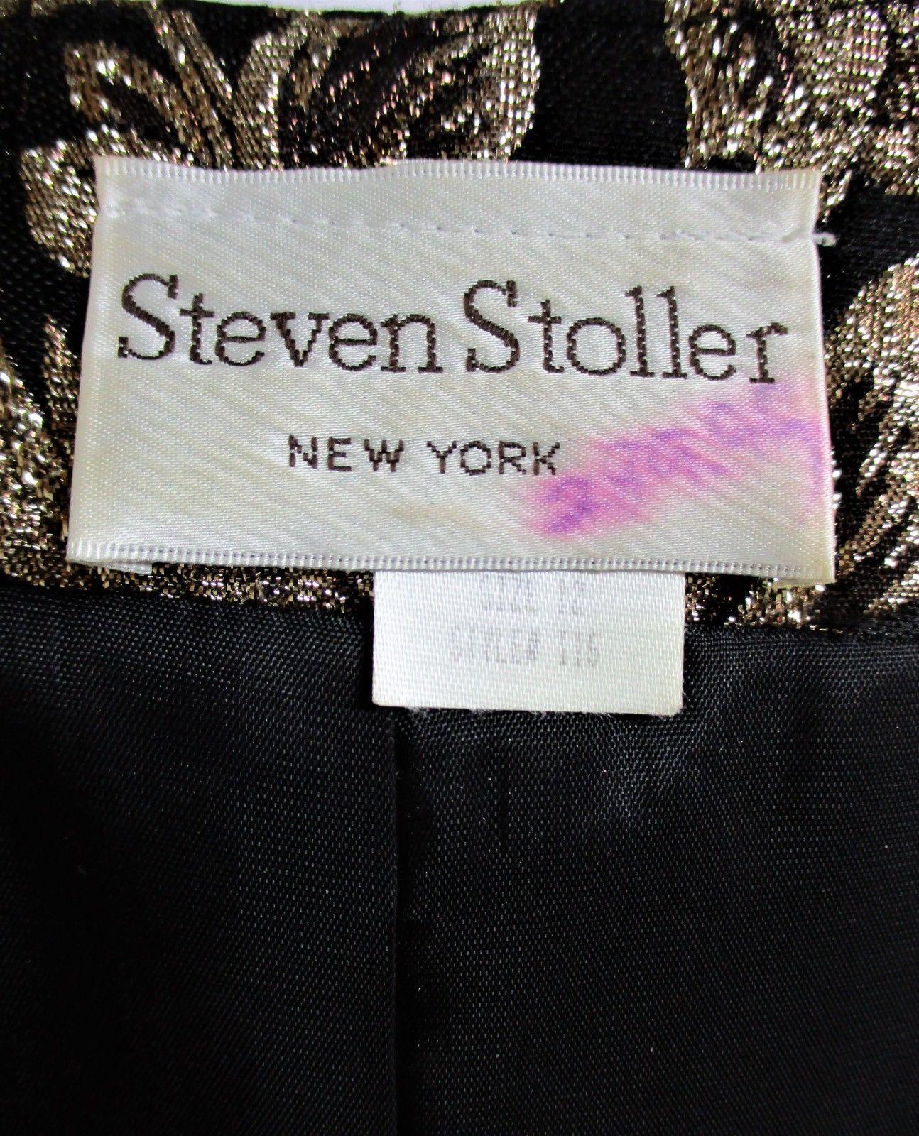 STEVEN STOLLER WOMENS  Sz.12  LONG SLEEVE BLACK GOLD METALLIC THREAD JACKET (F)
