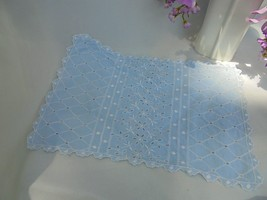 Vintage Embroidered Blue White Lace Napkin Cotton - $5.90