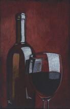 "Akimova: BOTTLE OF RED WINE, food, glass, still life, size approx. 5.5""x 9"" - $15.00"