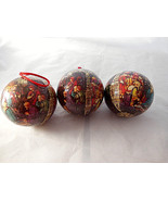 "Christmas Nativity Madonna & Child Ornament Balls Large 3 1/2""  set of 3 - $9.69"