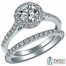 1.15 CARAT ROUND CUT DIAMOND ENGAGEMENT RING MATCHING WEDDING SET 14K WH... - £1,702.46 GBP