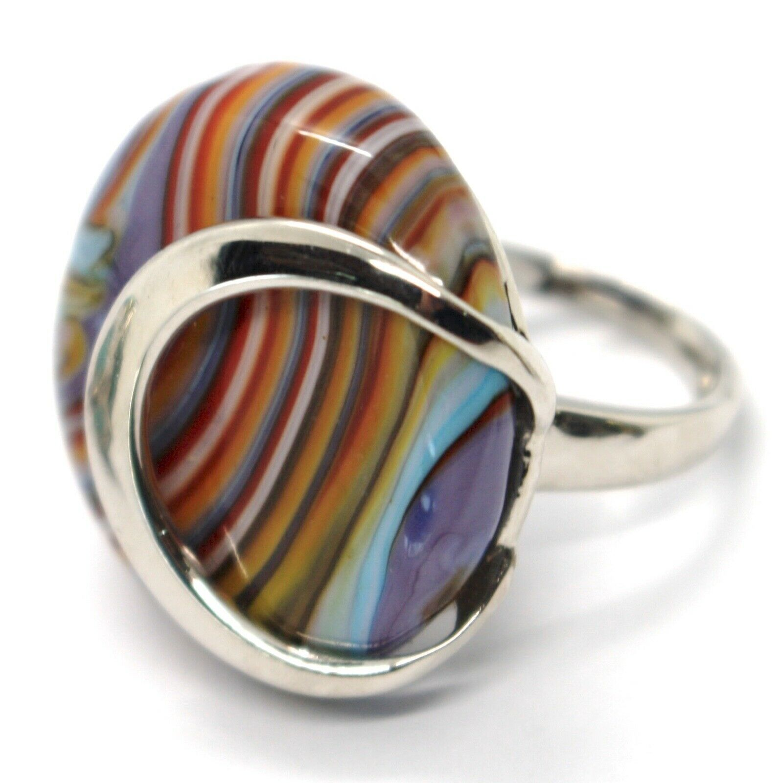 Ring Antique Murrina, Murano Glass, Disco Convex, Thousand Righe, Purple Pink