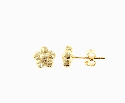18K YELLOW GOLD EARRINGS WITH VERY SHINY FLOWER WORKED MADE IN ITALY 0.28 INCHES