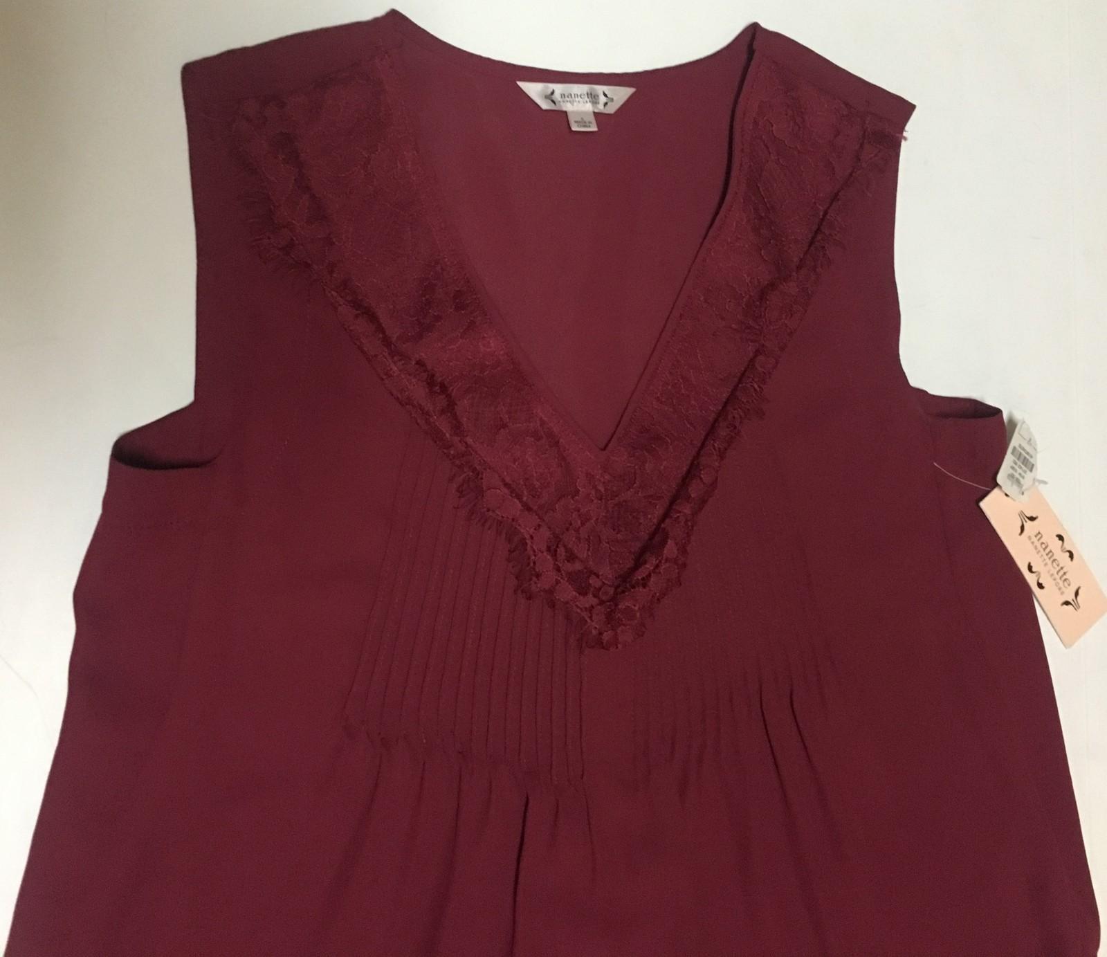 Nanette Lepore Summer Blouse Cranberry Sleeveless Sz S