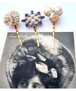 Hair Pins Bridal Prom Pageant Bobbies Clips Accessory Upcycled Vtg cream... - $19.79