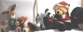 7 pc Lot Vintage Russ Collectible Teddy Bears & Plush Stuffed Animal Assortment - $35.76
