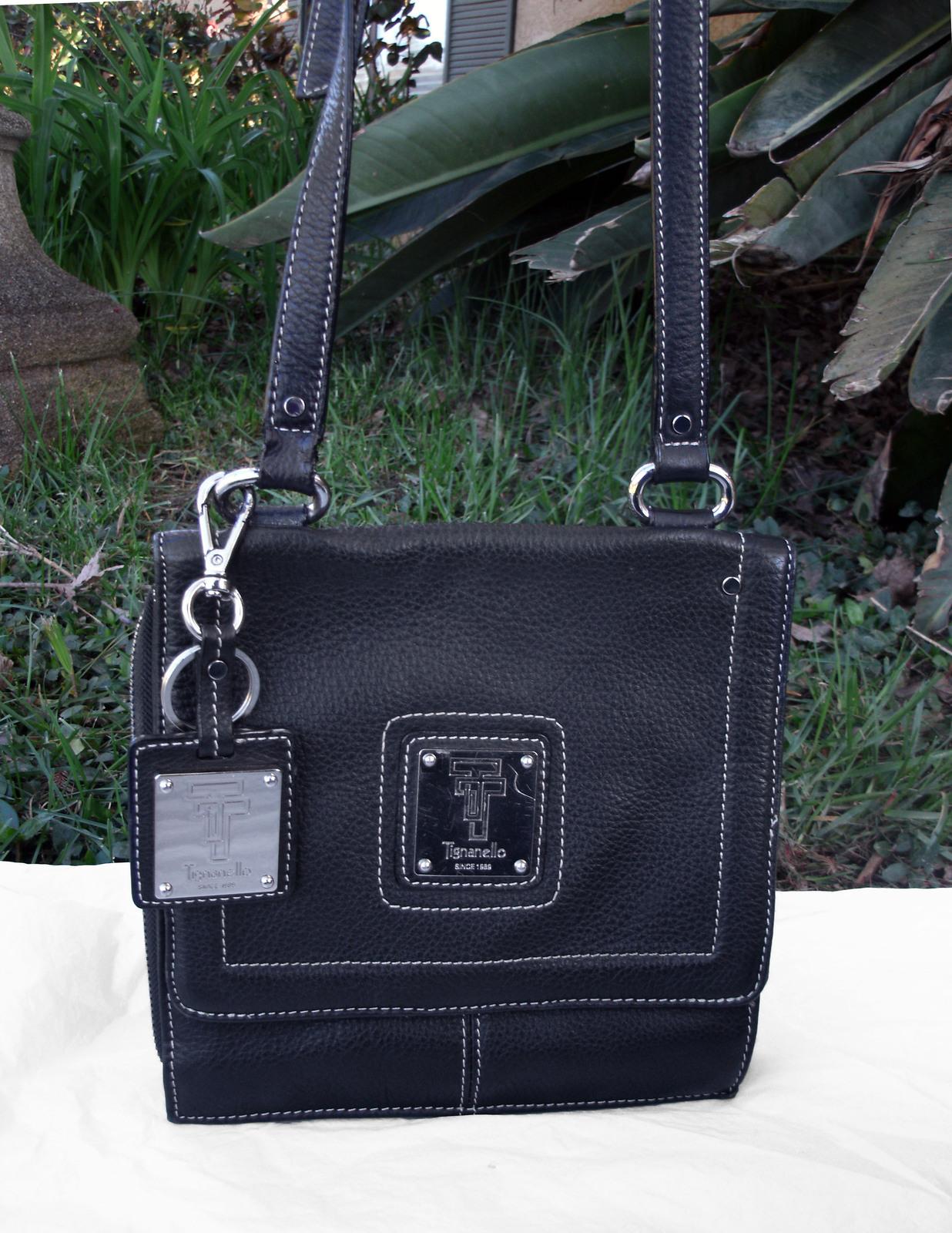 Tignanello Black Pebbled Leather Organizer Crossbody built in Wallet