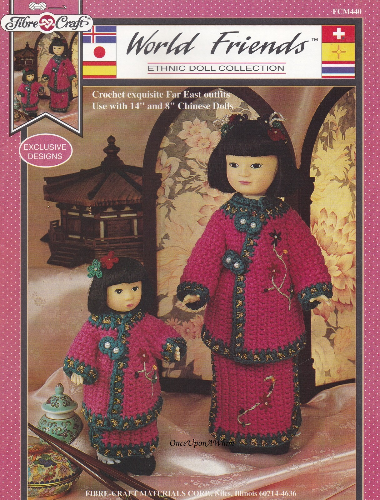 Far East Outfits, Fibre Craft World Friends Crochet Doll Clothes Pattern FCM440