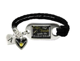 Custom Coffee and Friends Pefect Blend Leather Bracelet Jewelry Choose Initial - $13.80+