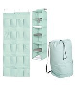3pc Durable Mint Storage Set Closet Hanging College Dorm Clothing Shoes ... - £36.38 GBP