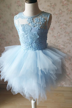A-Line/Princess Knee-length Flower Girl Dres Blue Tulle/Lace Flowers Puffy 4-16 image 3