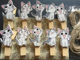 Cute Cat 120pcs Wooden Clips,DIY Hanging Décor,Memo Holder,Note Peg,Clot... - $18.00
