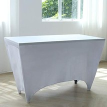 Zdada 5PCS Wedding Spandex Table Cover,4FT White Rectangle Table Cloths ... - $37.37