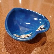 Vintage Trinket Dish, Blue Soapstone Heart & Handpainted Penguins, Made in Kenya image 7