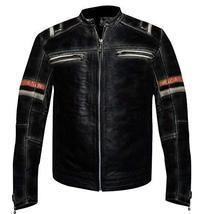Cafe Racer Vintage Retro Biker Distressed Black Motorcycle Leather Jacket image 1