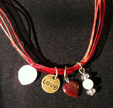 VALENTINES RED LOVE CHARM Necklace *FREE GIFT LOVE Antique Charm Girlfri... - $14.84