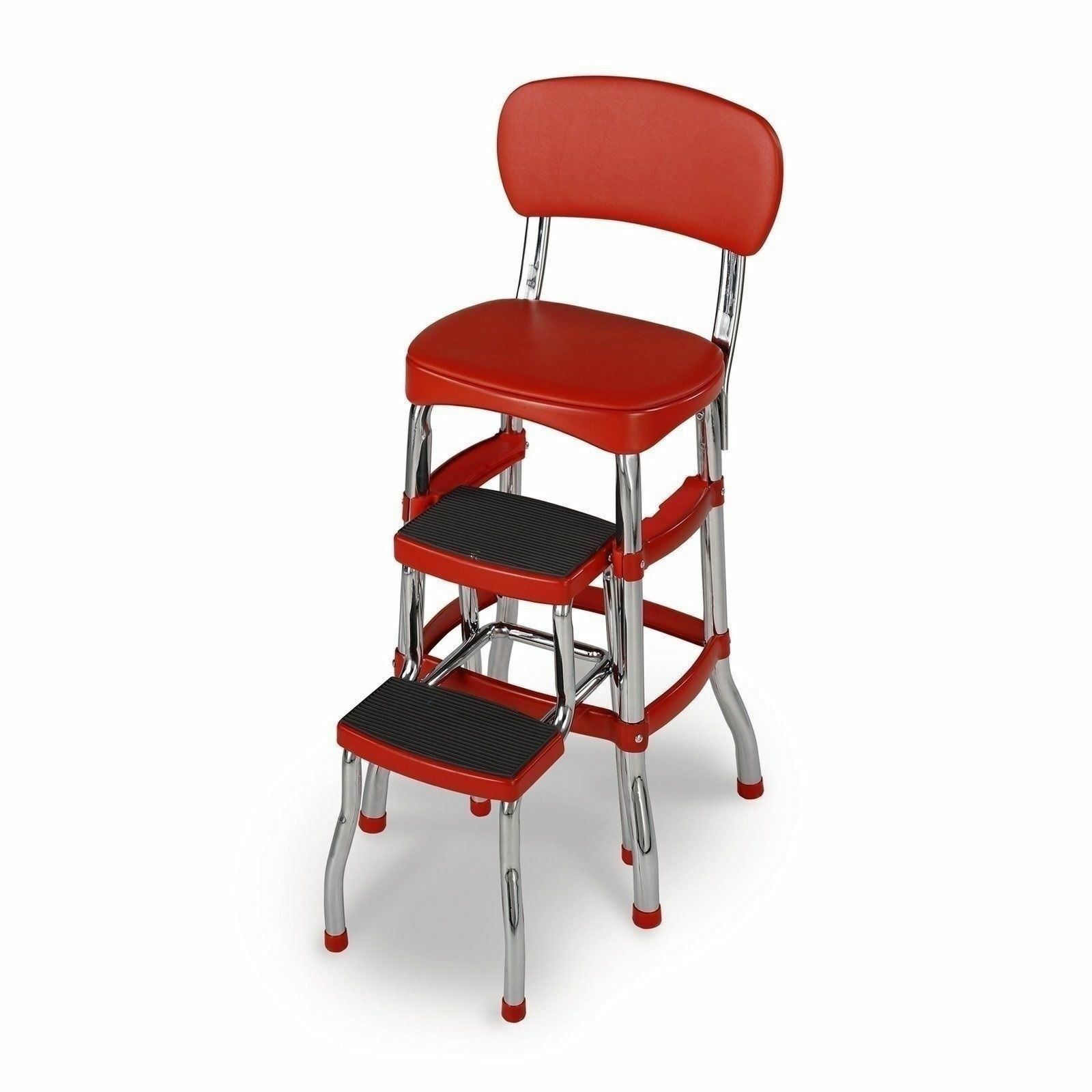 Red Folding Step Stool Kitchen Office Home Chair Back
