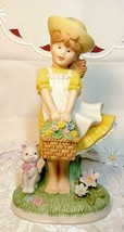 Vintage Napcoware Country Cousins Gentle Breeze Figurine Girl w/ Flower Basket