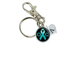 Custom Ovarian Cancer Awareness Teal Ribbon Silver Key Chain Initial Charms Gift - $10.22