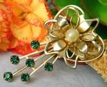 Vintage flower green rhinestone pearl heart brooch pin open work petal thumb155 crop
