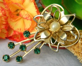 Vintage Flower Green Rhinestone Pearl Heart Brooch Pin Open Work Petal - $14.95