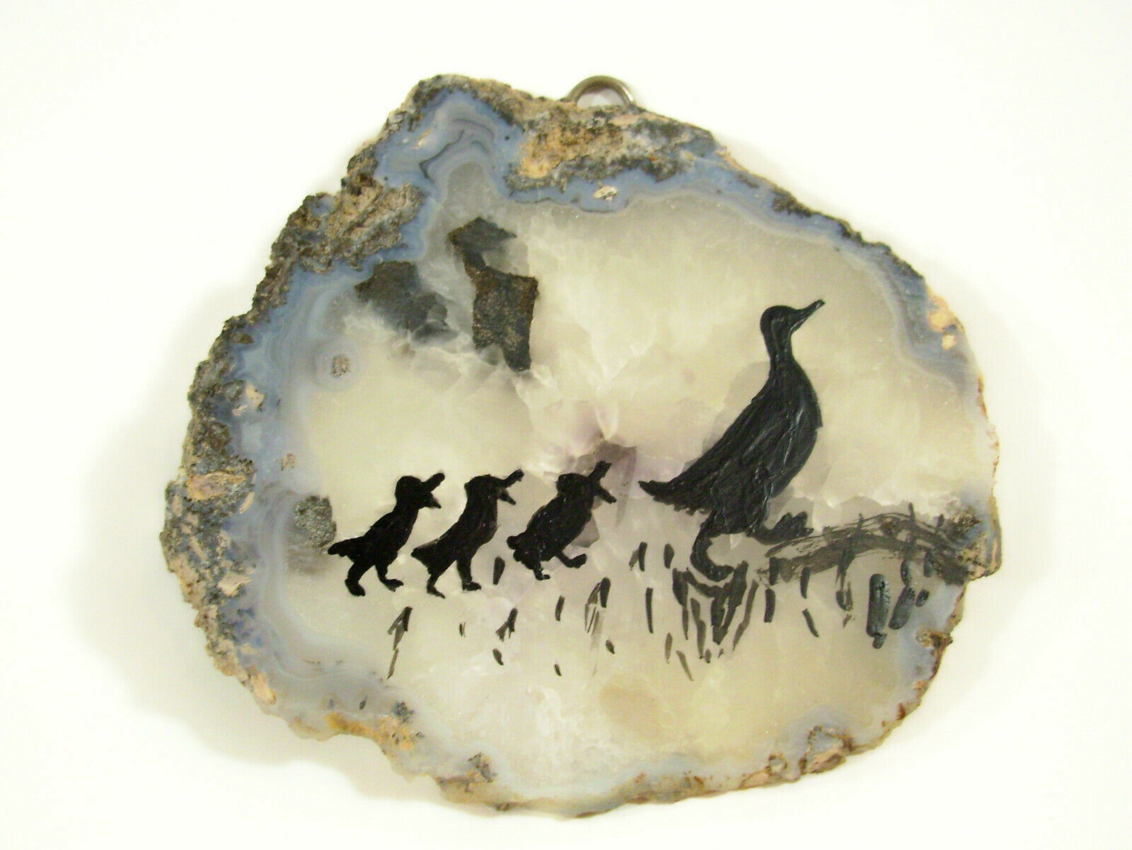 Silhouette Ducks Hand Painted on Geode Stone Slice Folk Art Wall Hanging Plaque