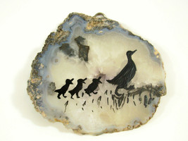 Silhouette Ducks Hand Painted on Geode Stone Slice Folk Art Wall Hanging Plaque image 1