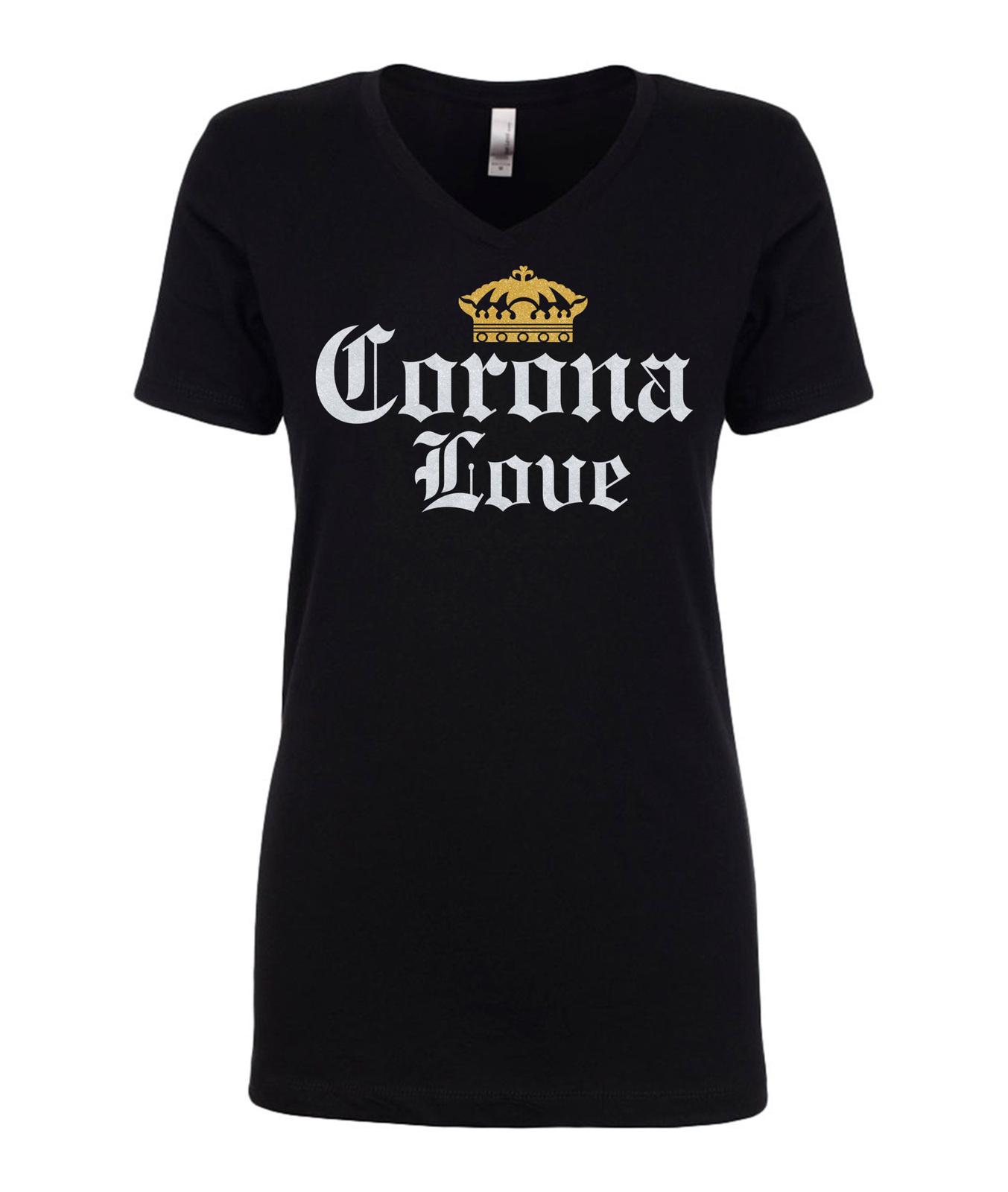 corona love corona t shirt, women's sparkle glitter graphic apparel top shirt
